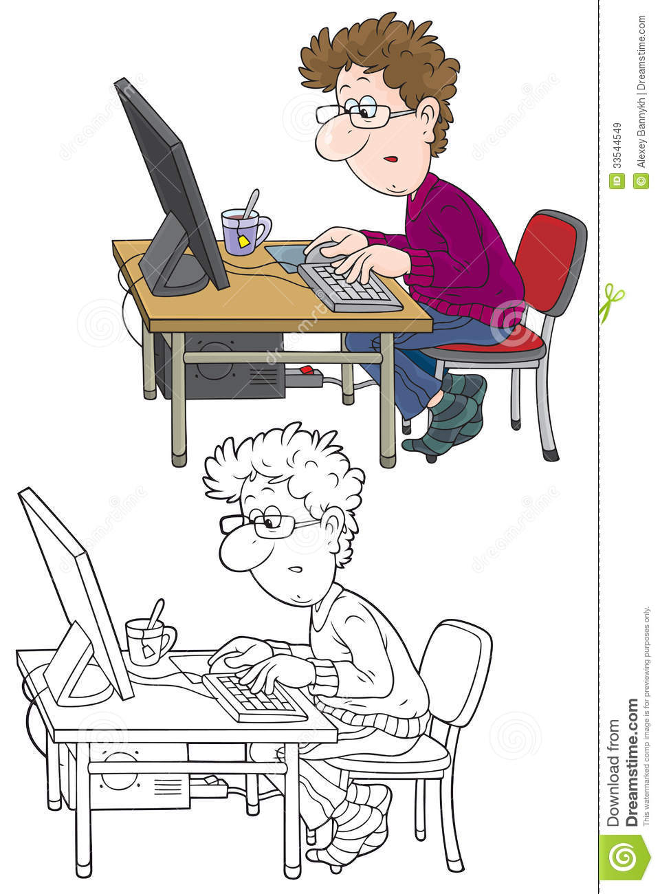 In front of computer clipart png black and white Man sitting in front of computer clipart - ClipartFest png black and white