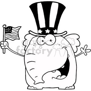 Independence day clipart black and white graphic stock A Patriotic Elephant Waving An American Flag On Independence Day In Black  And White clipart. Royalty-free clipart # 379169 graphic stock