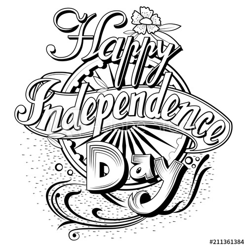 Independence day india clipart black and white banner freeuse library Colorful Holiday typography for Happy Independence Day of ... banner freeuse library