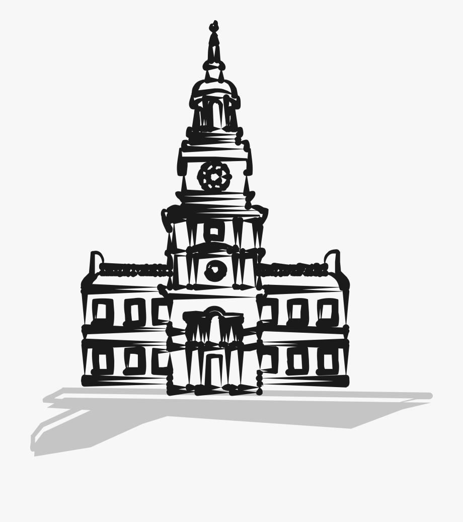 Independence hall clipart picture free Of Independence Hall - City Hall Cartoon Black And White ... picture free