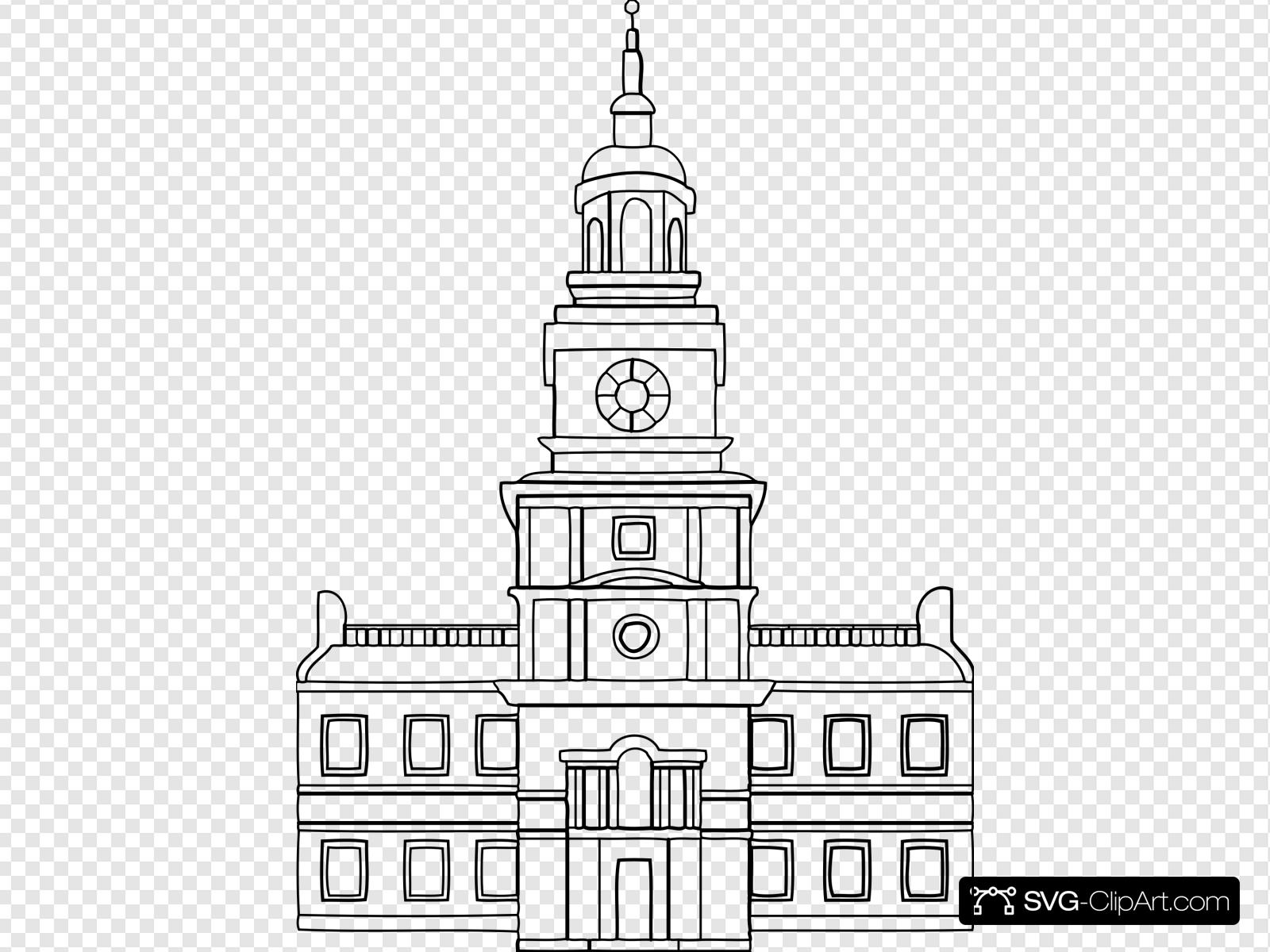 Independence hall clipart clip art Independence Hall Clip art, Icon and SVG - SVG Clipart clip art