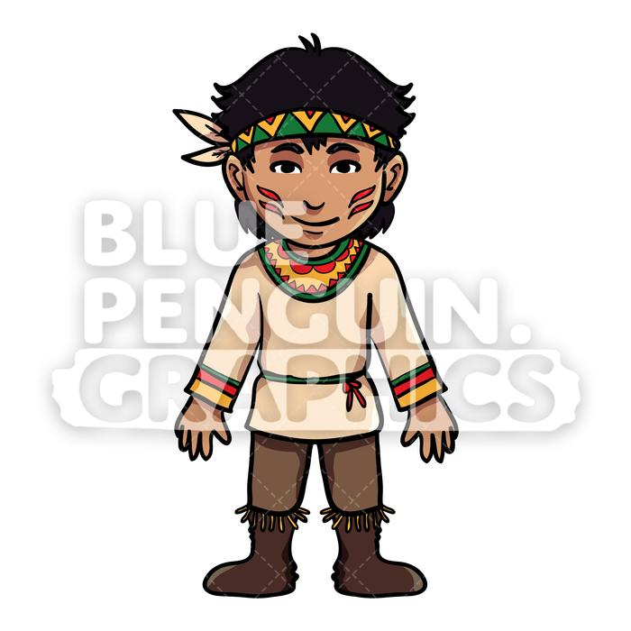 Indian boy clipart stock Indian Thanksgiving Boy version 3 Vector Cartoon Clipart Illustration stock