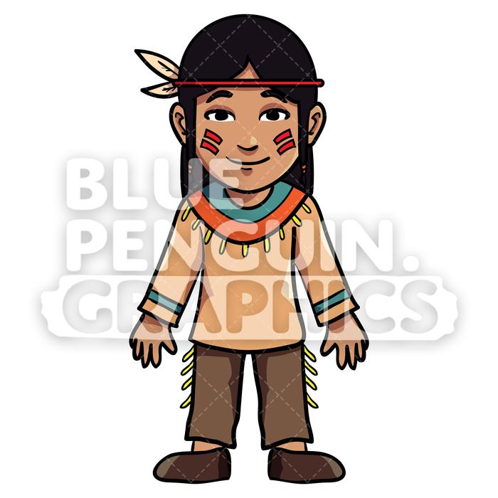 Indian boy clipart image freeuse Indian Thanksgiving Boy version 4 Vector Cartoon Clipart Illustration image freeuse