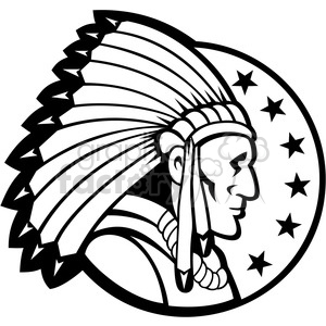 Indian chief pictures clipart png black and white stock black and white indian chief side headdress 001 clipart. Royalty-free  clipart # 388103 png black and white stock