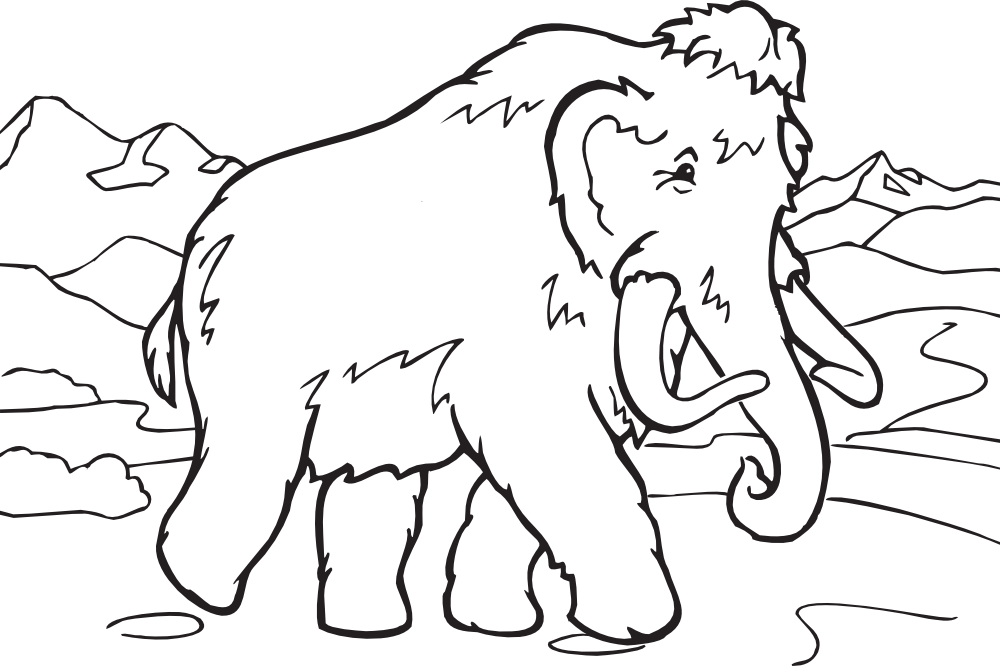 OnlineLabels Clip Art - Coloring Book Mammoth image transparent download