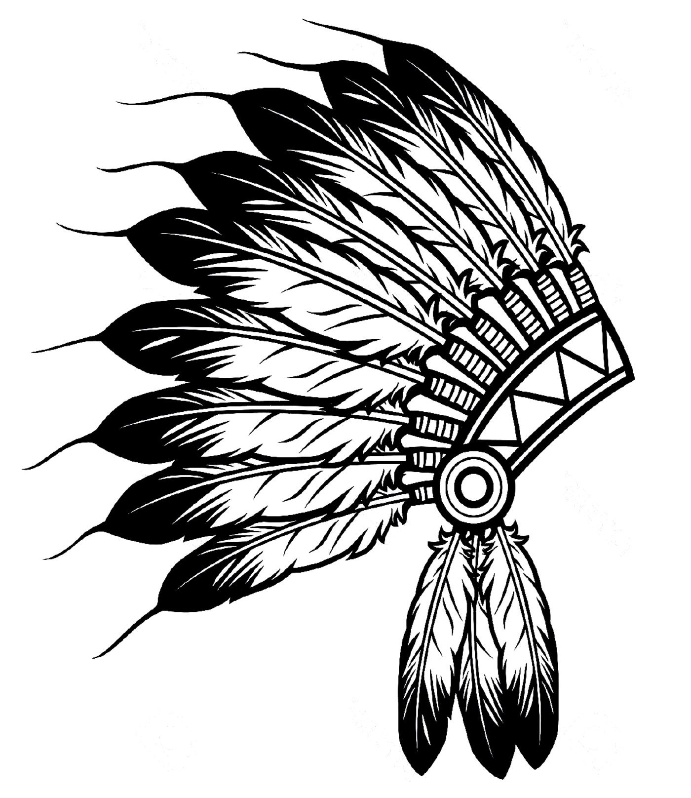 Indian clipart with colorful feathers on hat clip art free library Free coloring page coloring-indian-headdress. The Indian Feather Hat ... clip art free library