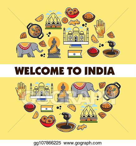 Indian culture clipart image royalty free EPS Vector - Indian culture promo poster with national symbols set ... image royalty free