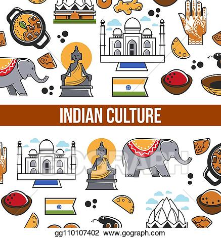 Indian culture clipart clip free library Vector Illustration - Indian culture symbols and vector india ... clip free library
