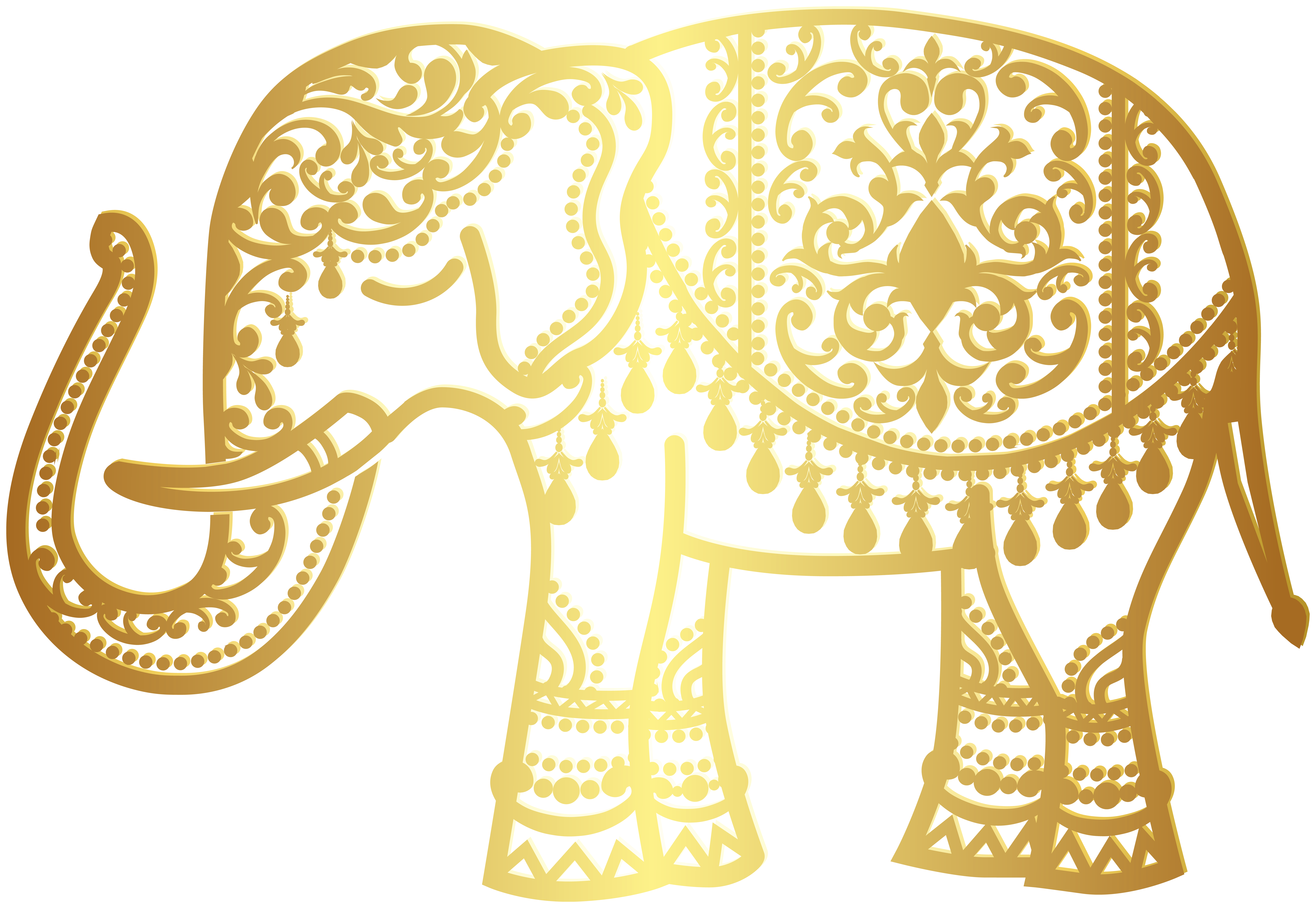 Indian elephant clipart image freeuse download Decorative Gold Indian Elephant PNG Clip Art | Gallery Yopriceville ... image freeuse download