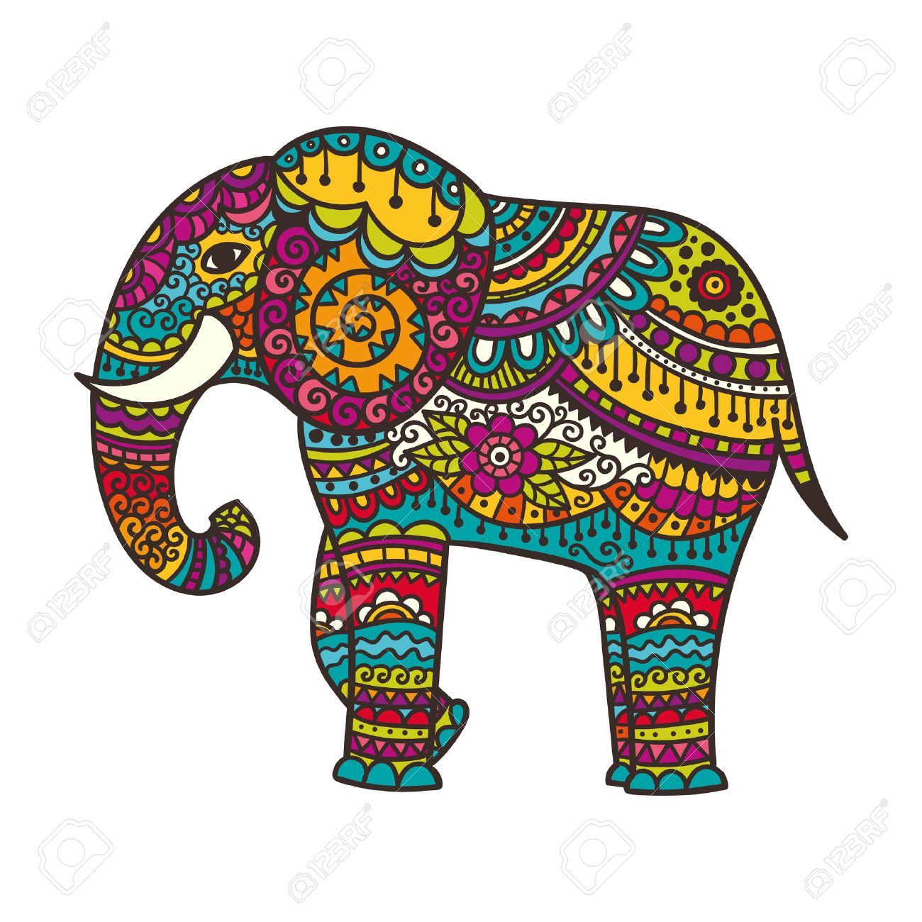 Indian elephant clipart black and white library Decorated indian elephant clipart » Clipart Portal black and white library