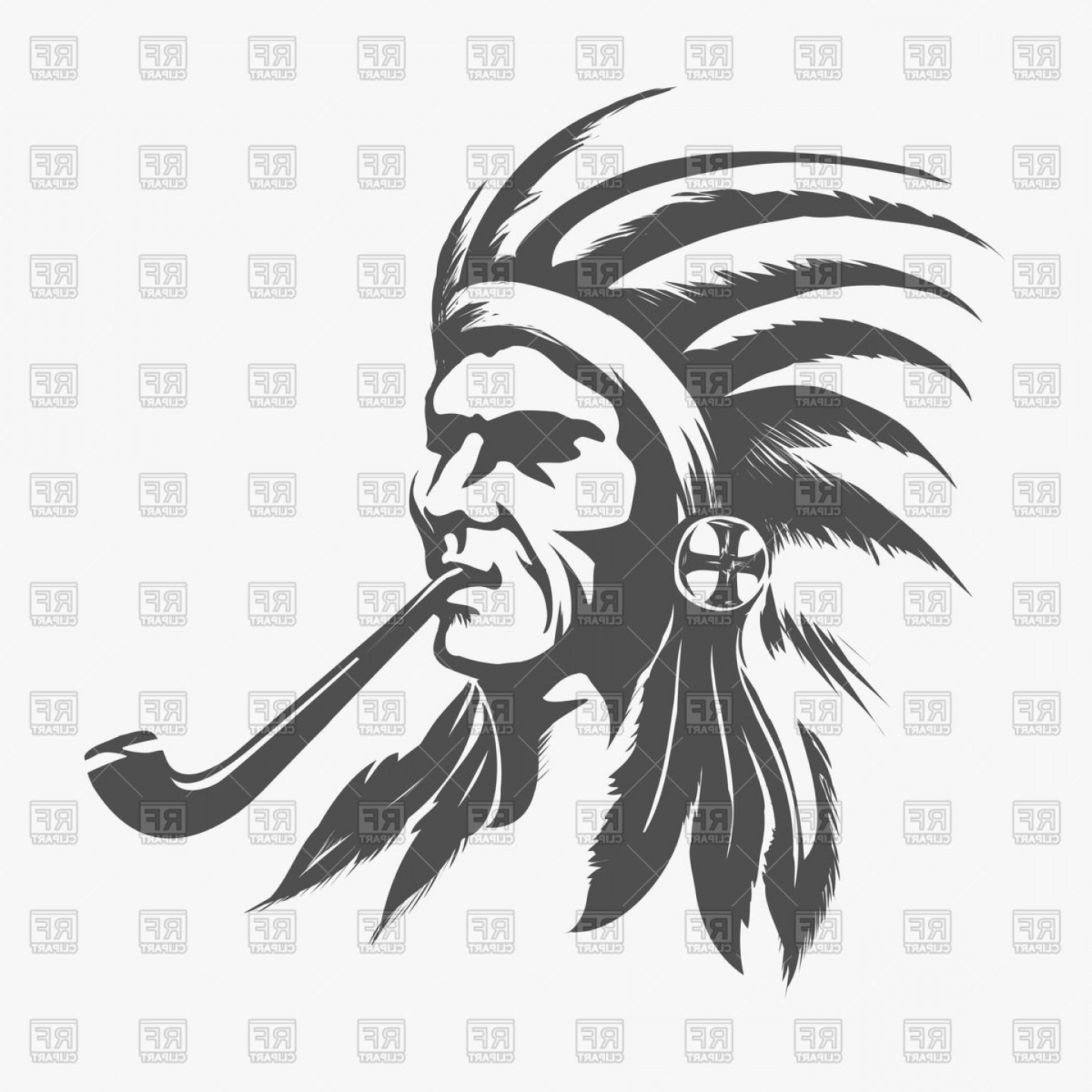 Indian face clipart clipart free Native Indian Face Vector Clipart | SOIDERGI clipart free