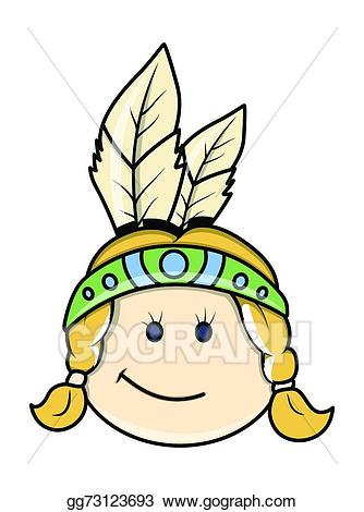 Indian face clipart image transparent download Vector Stock - Happy red indian kid girl face. Clipart Illustration ... image transparent download