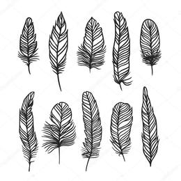 Indian feather clipart black and white vector black and white download Indian Feather Sketch at PaintingValley.com | Explore collection of ... vector black and white download