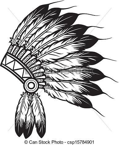 Indian headband clipart jpg transparent download Vector Clipart of indian chief headdress - native american indian ... jpg transparent download