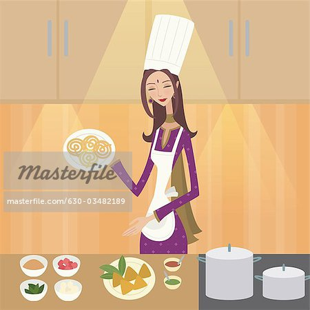 Indian lady chef clipart svg library stock Female chef showing Indian food - Stock Photo - Stock Photos ... svg library stock