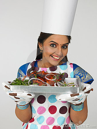 Indian lady chef clipart svg stock Asian Woman With Her Baked Chicken Stock Images - Image: 6783314 svg stock