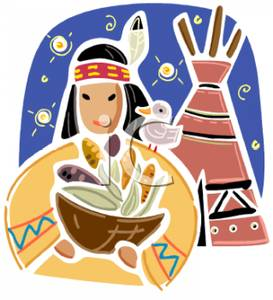 Indian maiden clipart black and white stock A Cartoon of an Indian Maiden Holding a Basket of Food Next To a Tee ... black and white stock
