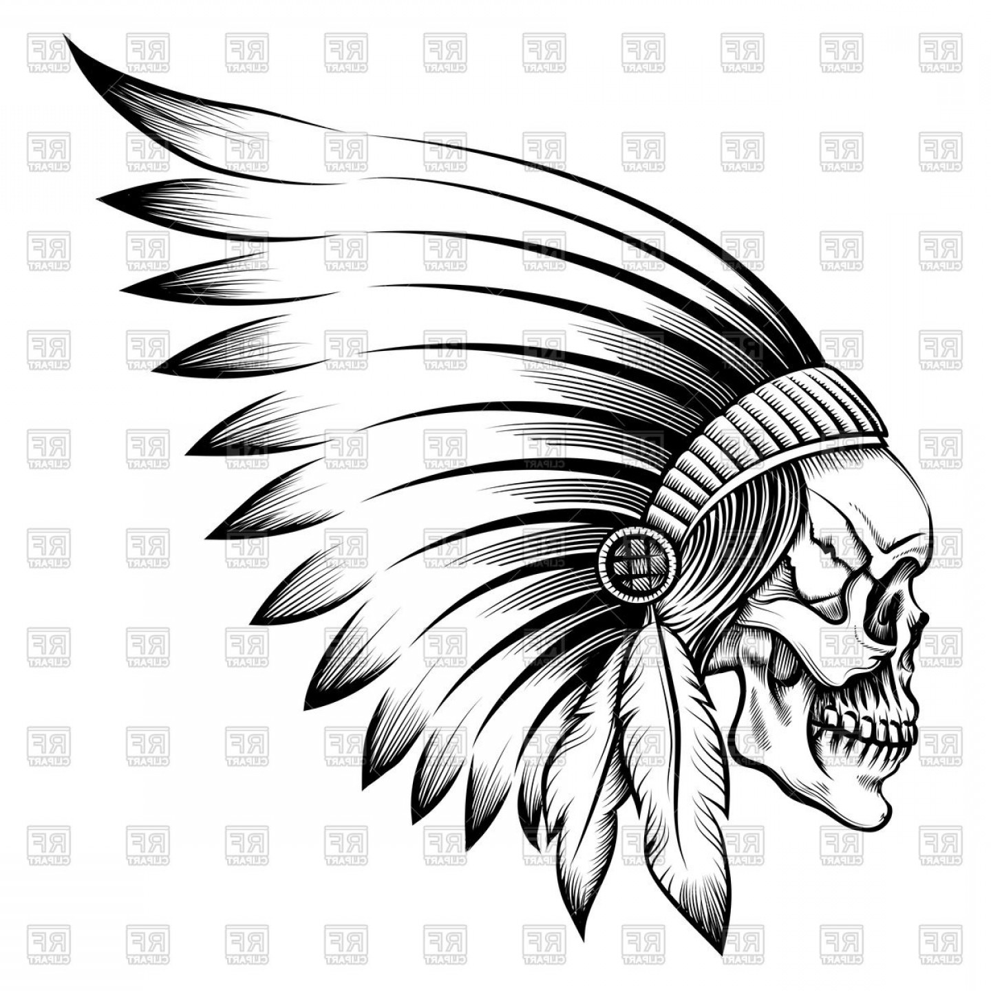 Indian skull clipart banner download Indian Chief Skull In Engraving Style Vector Clipart | SOIDERGI banner download