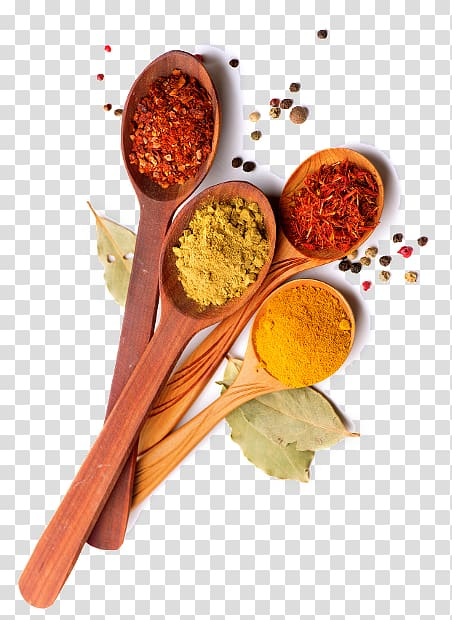 Indian spices clipart banner freeuse Brown wooden ladles with spices illustration, Ras el hanout Adobo ... banner freeuse