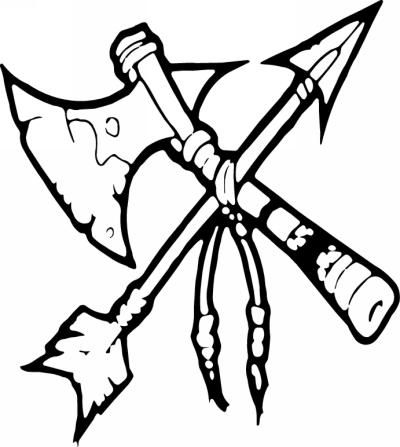 Indian tomahawk clipart banner library download Native American Tomahawk Sticker 10 - Native American Stickers ... banner library download