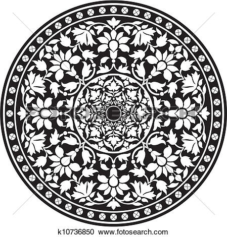 Indian traditional clipart black and white library Clipart of Indian traditional pattern of black k10736850 - Search ... black and white library