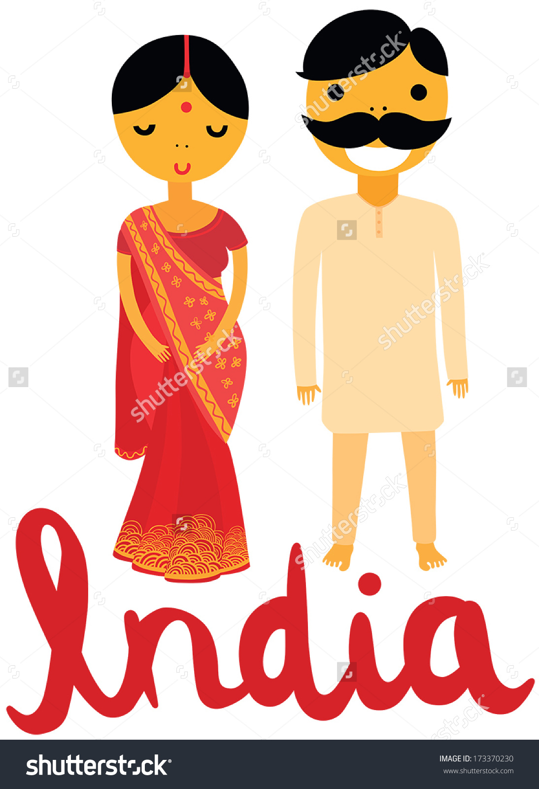 Indian traditional dress clipart graphic library download Indian Woman Man Traditional Clothing Stock Vector 173370230 ... graphic library download