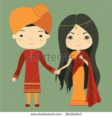 Indian traditional dress clipart jpg black and white stock Indian Traditional Dress Stock Images, Royalty-Free Images ... jpg black and white stock