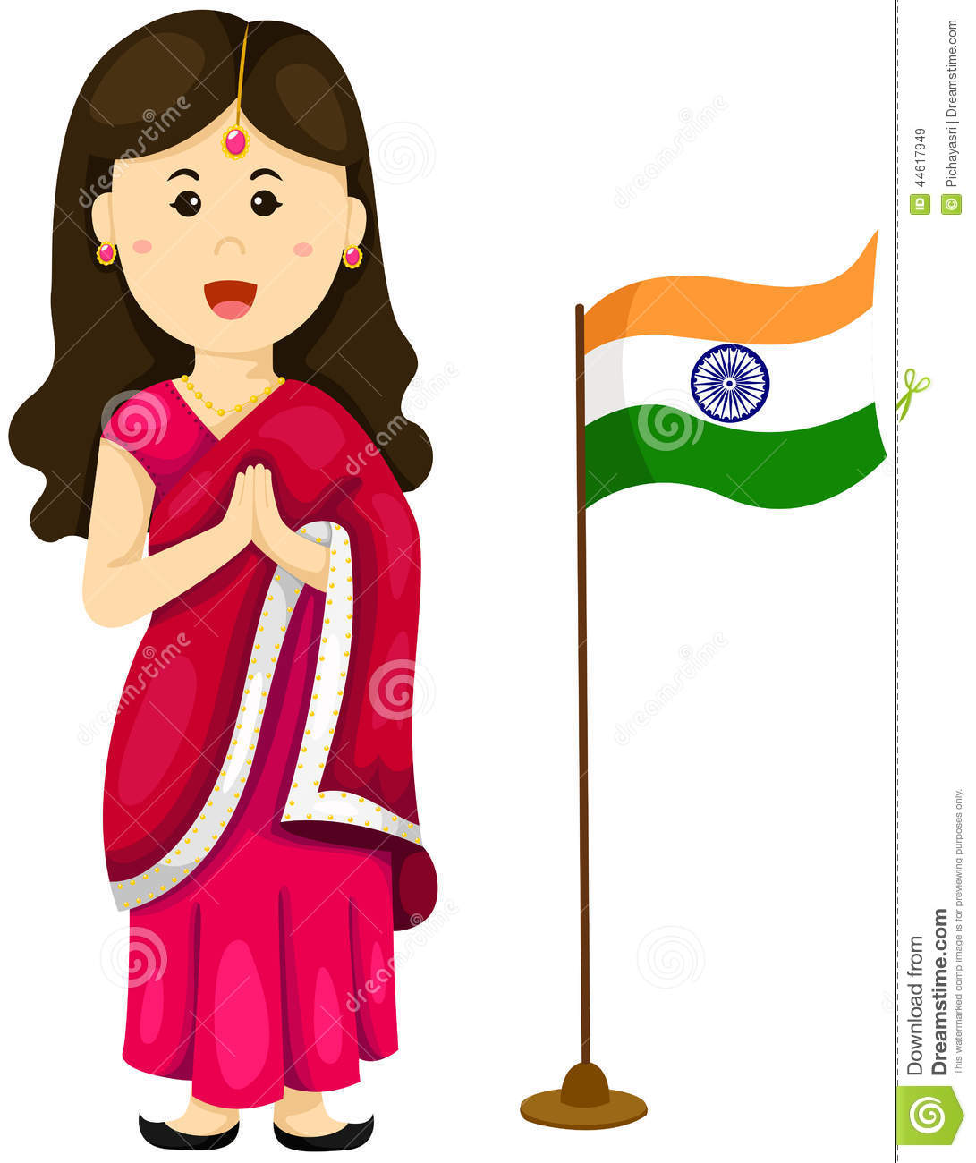 Indian traditional dress clipart png freeuse stock Cute Indian Girl In Traditional Dress Stock Vector - Image: 44617949 png freeuse stock