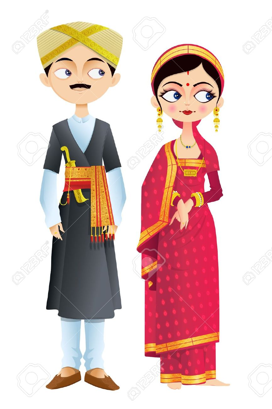 Indian traditional dress clipart transparent stock Wedding Couple Of Karnataka Royalty Free Cliparts, Vectors, And ... transparent stock