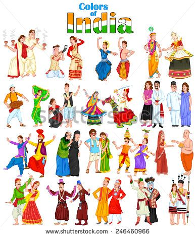 Indian traditional dresses of different states clipart banner black and white library Happy couple from different states of India in vector | Stuff to buy ... banner black and white library
