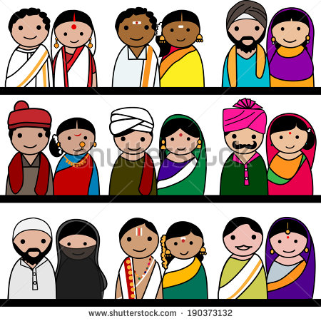 Indian traditional dresses of different states clipart image transparent stock Traditional Costumes Of Indian States & KERALA. Traditional Clothing ... image transparent stock