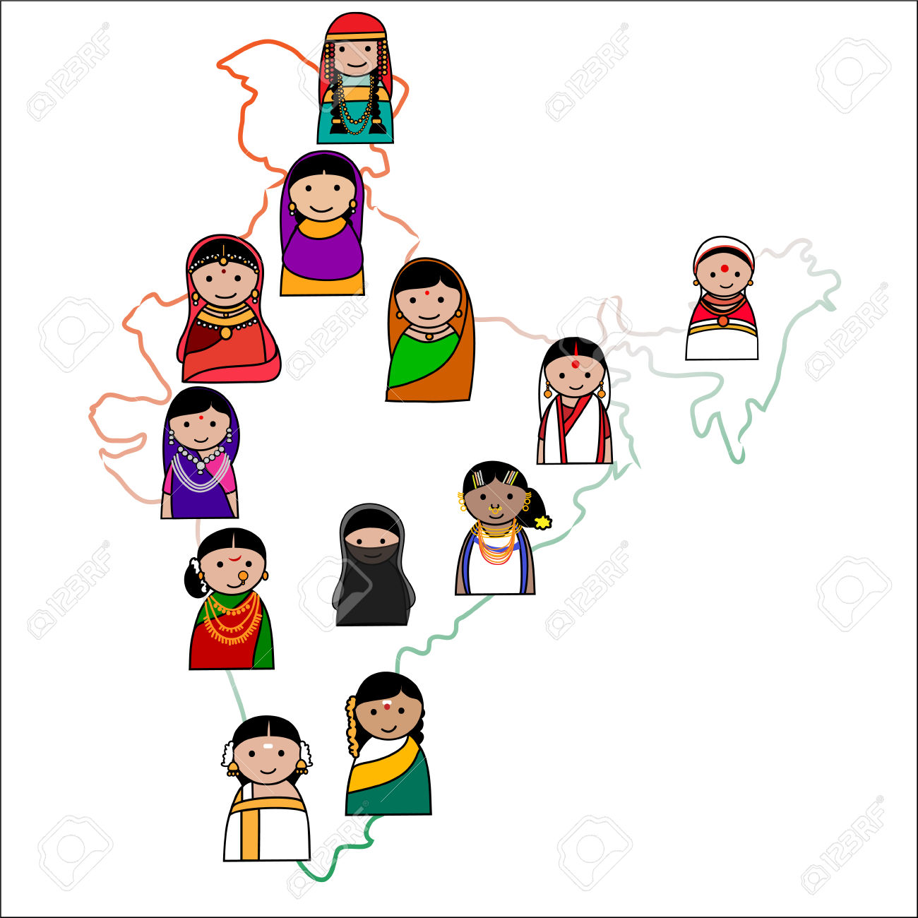 Indian traditional dresses of different states clipart picture black and white library Indian Traditional Dresses Of Different States Clipart - raveitsafe picture black and white library