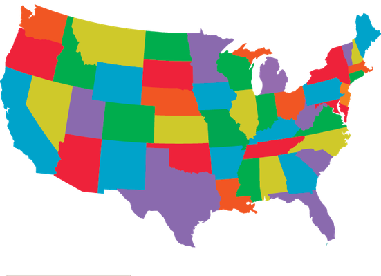 Individual states clipart graphic transparent download Colorful USA with individual states outlines | Clipart | The Arts ... graphic transparent download