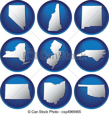 Individual states clipart vector transparent stock Clipart Vector of Nine United States Buttons csp4969465 - Search ... vector transparent stock