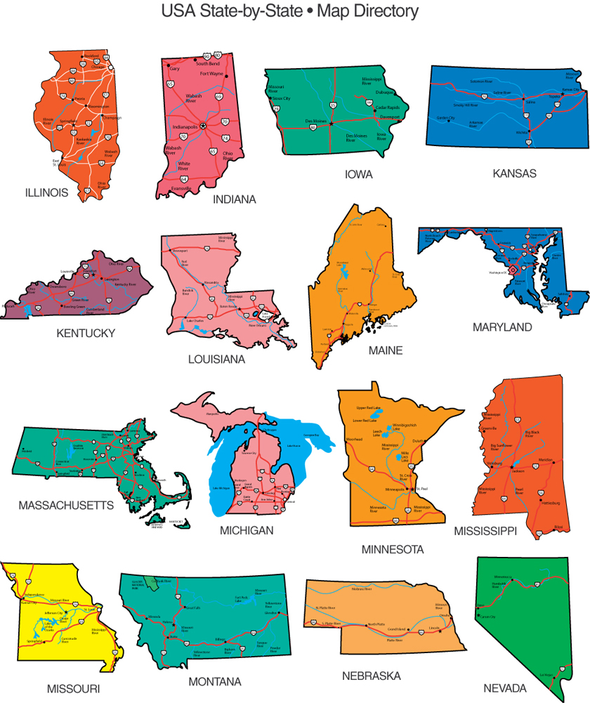 Individual states clipart jpg free stock Us Map Powerpoint Clipart - Clipart Kid jpg free stock