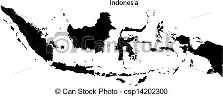 Indonesia black and white clipart royalty free library Vector Clipart of Black Indonesia map separated on the provinces ... royalty free library