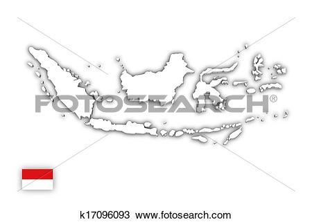 Indonesia black and white clipart clip download Drawing of White map of Indonesia k17096093 - Search Clipart ... clip download