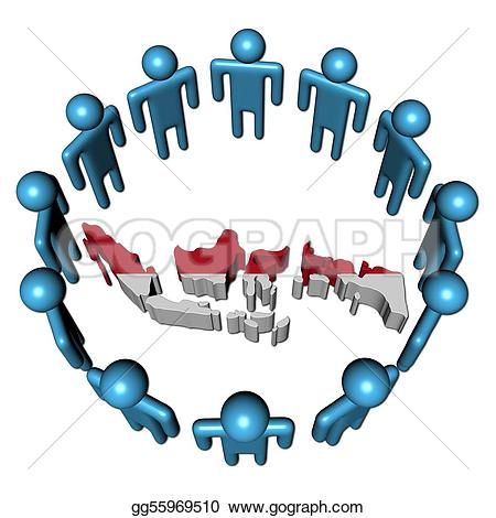 Indonesia clipart clip royalty free stock Drawing - Circle of abstract people around indonesia map flag ... clip royalty free stock