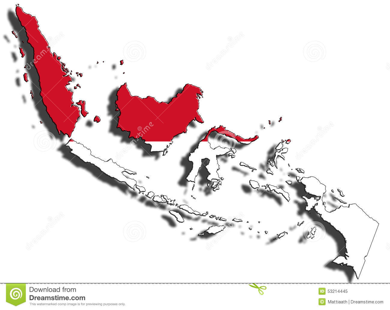 Indonesia flag country clipart graphic transparent library Outline Of Indonesia With The National Flag Stock Illustration ... graphic transparent library