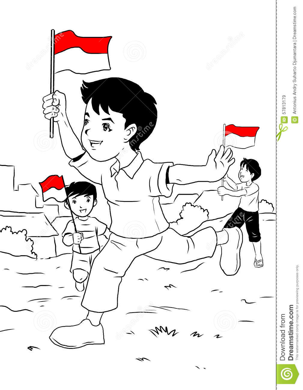 Indonesia independence day clipart clip art stock Indonesian Kids Celebrating Independence Day Stock Illustration ... clip art stock