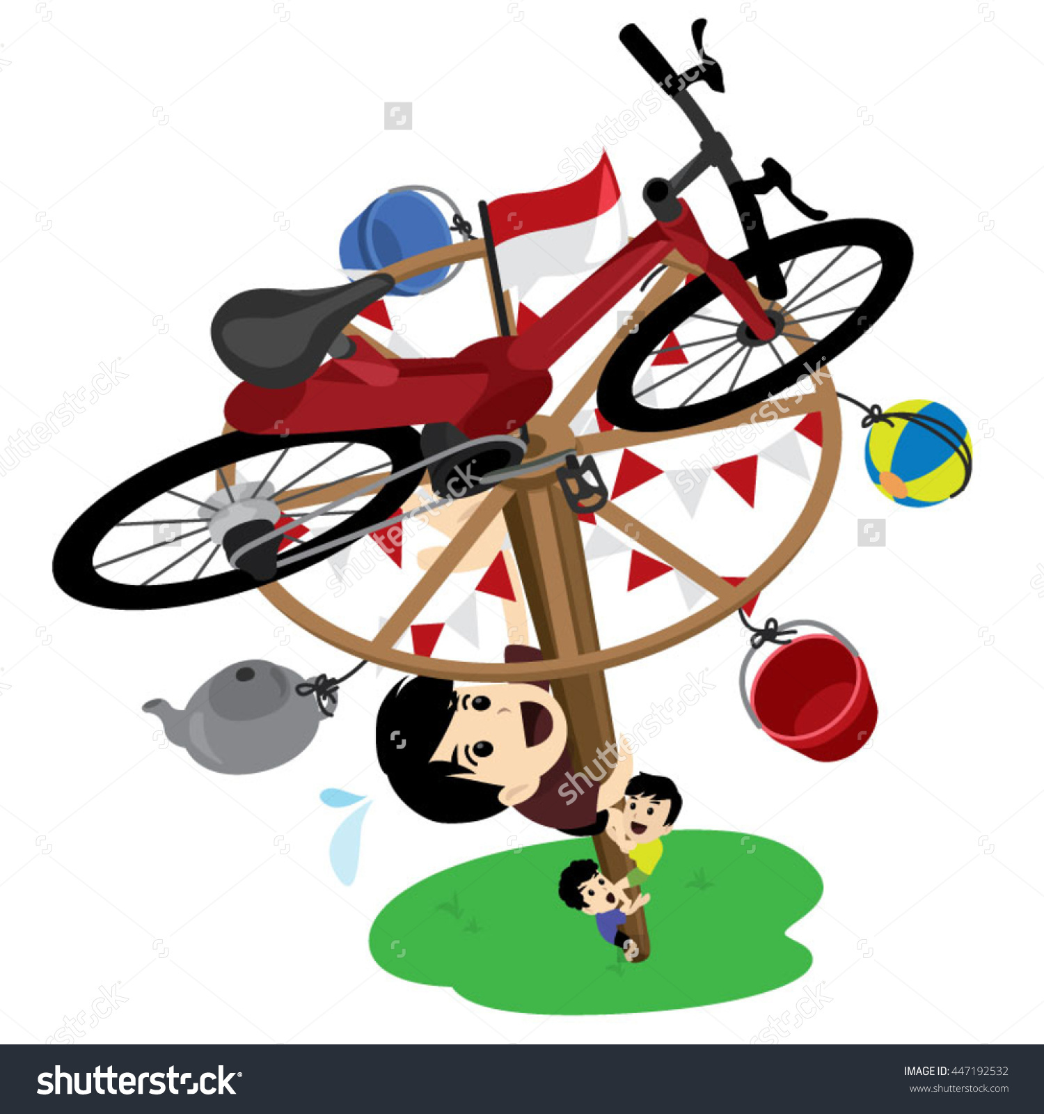 Indonesia independence day clipart picture transparent library Panjat Pinang Pole Climbing Indonesian Independence Stock Vector ... picture transparent library