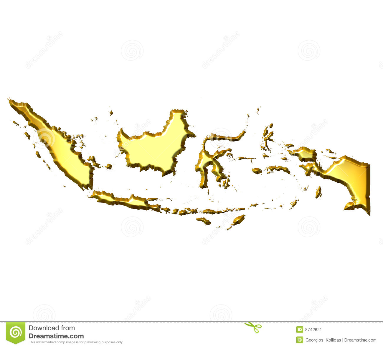 Indonesia map clipart clip art transparent download Indonesia 3d Golden Map Stock Image - Image: 8742621 clip art transparent download