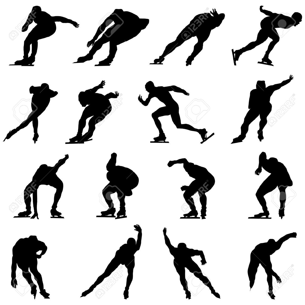 Inline speed skating clipart clipart transparent download Skating Man Silhouette Set For Design Use Royalty Free Cliparts ... clipart transparent download