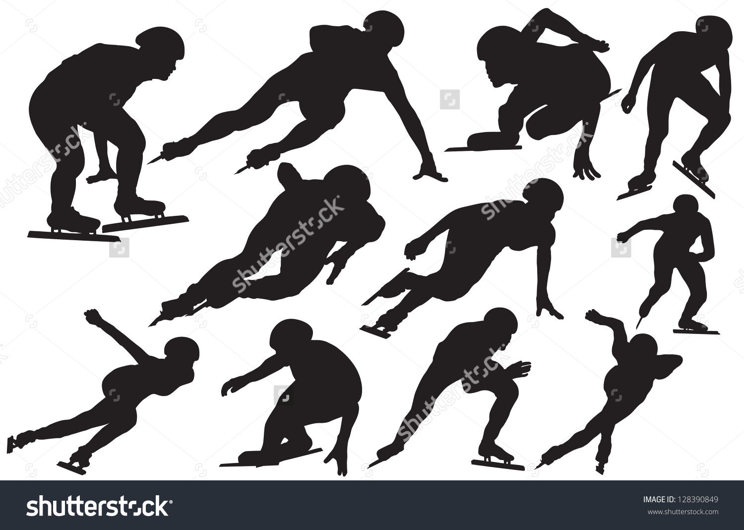 Inline speed skating clipart svg freeuse library Speed Skating Silhouette Stock Vector 128390849 - Shutterstock svg freeuse library