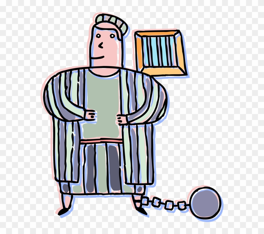 Inmate clipart clip library Vector Illustration Of Incarcerated Inmate Behind Bars ... clip library
