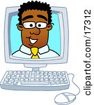 Inside computer looking out clipart graphic transparent download Clipart Picture of a Black Businessman Mascot Cartoon Character ... graphic transparent download