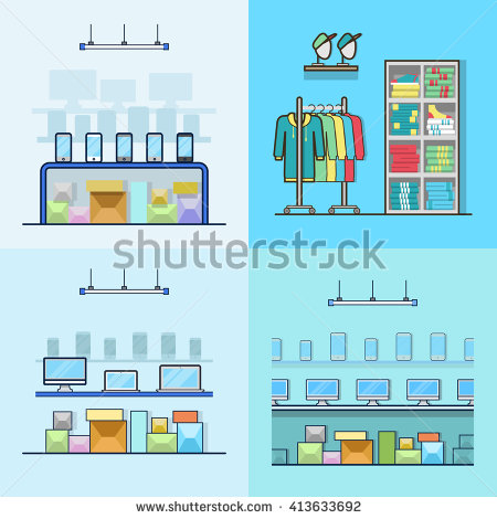 Inside electronics store outline clipart png library stock Clothing Store Man Woman Clothes Shop Stock Vector 259409552 ... png library stock