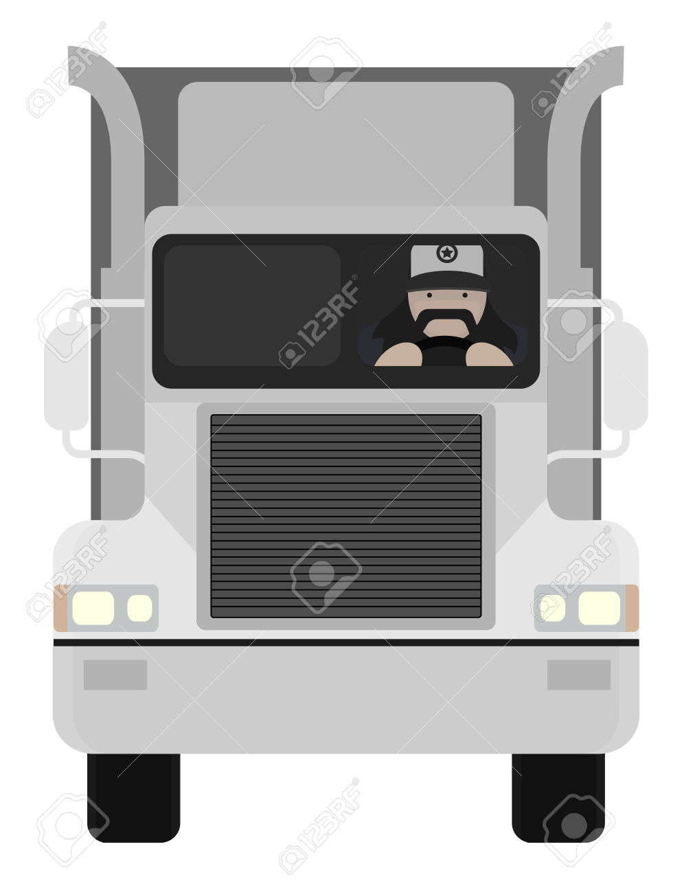 Inside electronics store outline clipart clip art free Fat Round Flat Cartoon Style Black Beard Truck Driver. In Trucker ... clip art free