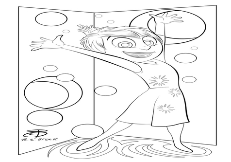 Inside out black and white clipart head clip free stock Joy From Inside Out Coloring Pages coloring page, coloring image ... clip free stock
