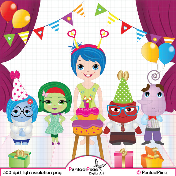 Inside out characters clipart vector library stock Emotions Clipart set Birthday Clipart INSTANT DOWNLOAD vector library stock